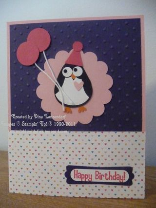Penguin Happy Birthday Card Inkin With Dink